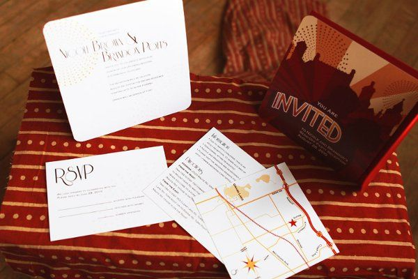 Invitation set for at-home reception to accompany the destination wedding.