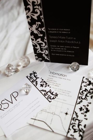 Black white and silver damask winter wedding.
