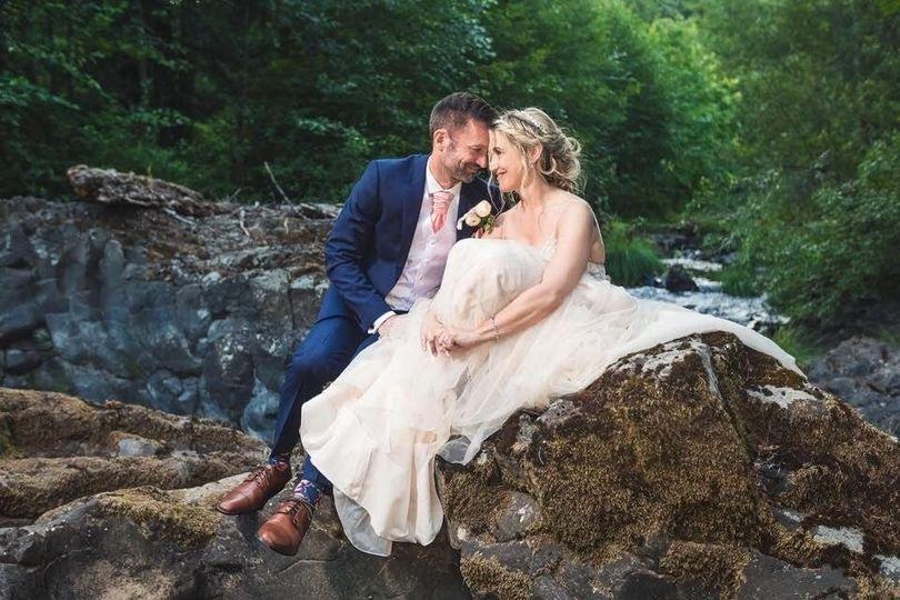 Couple posing on rocks