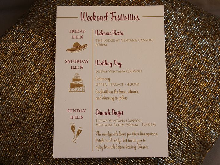 Wedding itinerary with icons
