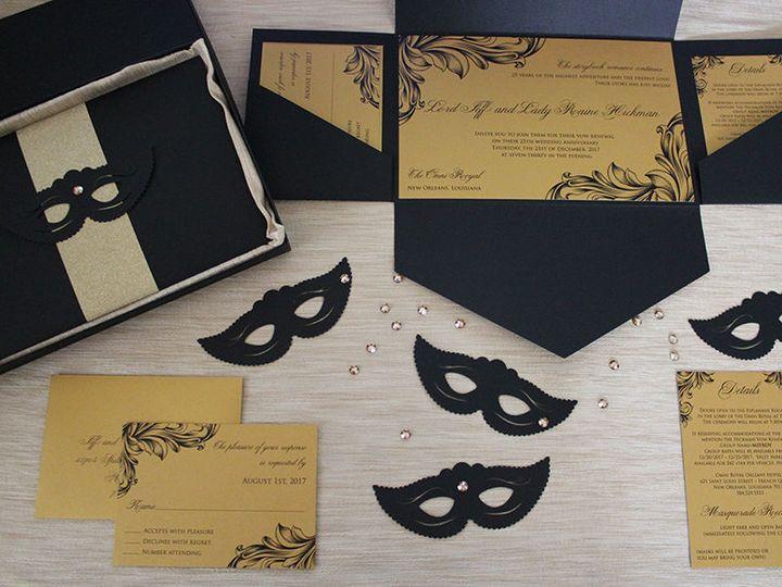 25th wedding anniversary pocket invite.  Masquerade party theme9+
