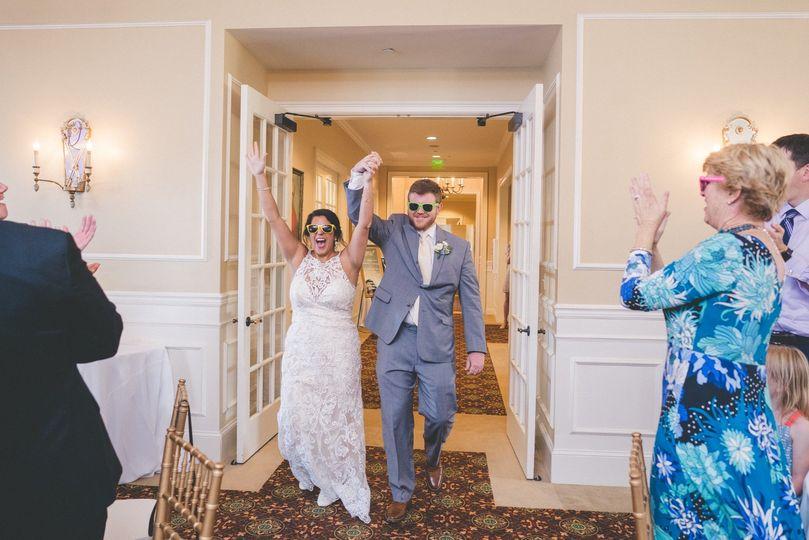 Newlyweds celebrating