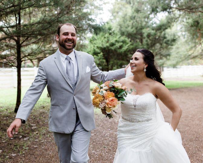 Newlyweds running