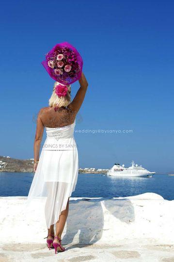 Mykonos Destination Wedding Photoshoot & Ceremony