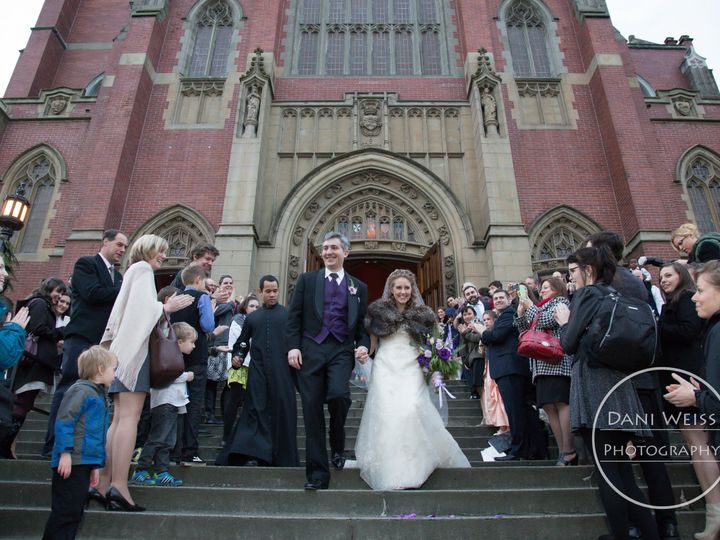 Tmx 1432540764189 Amy And Del Coming Down Church Steps 1 Seattle wedding dress