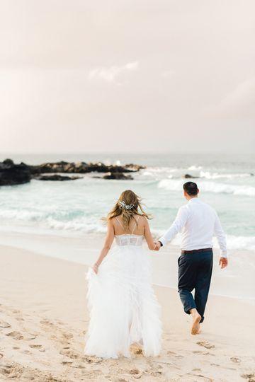 Romantic shoreline walk
