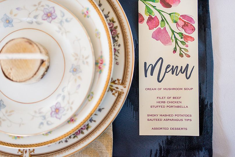 Vintage mix and match patterns are kept fresh with a brush script calligraphy and bold watercolor...