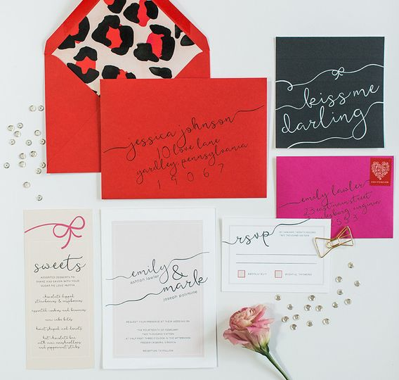 Animal lovers unite with this bold Kate Spade inspired wedding invitation suite! Your guests' jaws...