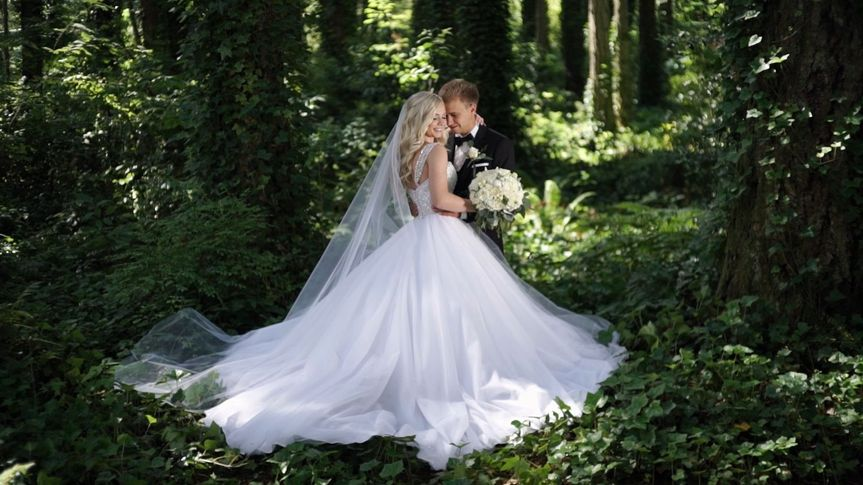 Artem and Christina. Bride and groom in the forest.