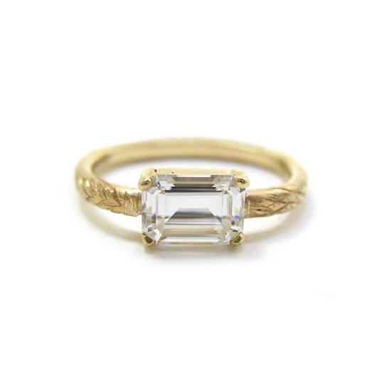 fb16696edc6b7ff1 Emerald Cut Moissanite Engagement Ring in recycled 14 karat go