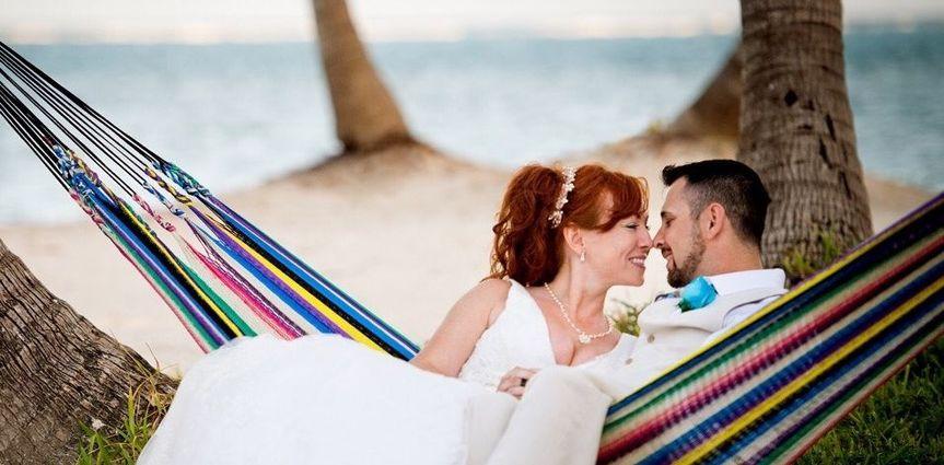 Newlyweds on a hammock