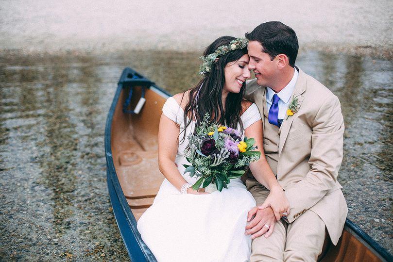redfish wedding in canoe