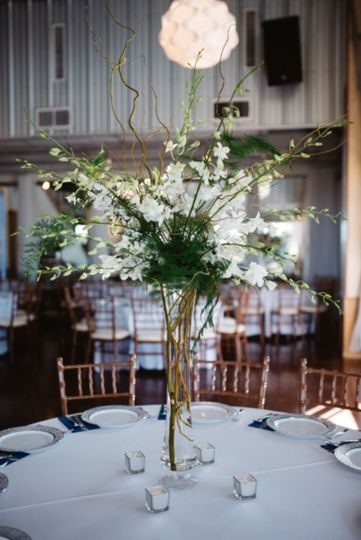 Tall, white orchid centerpiece