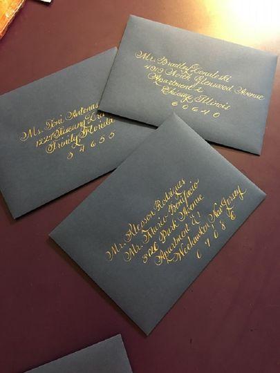 Calligraphy on dark envelope