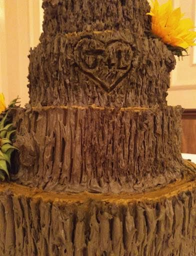 Rustic Wooden Cake w/Initials