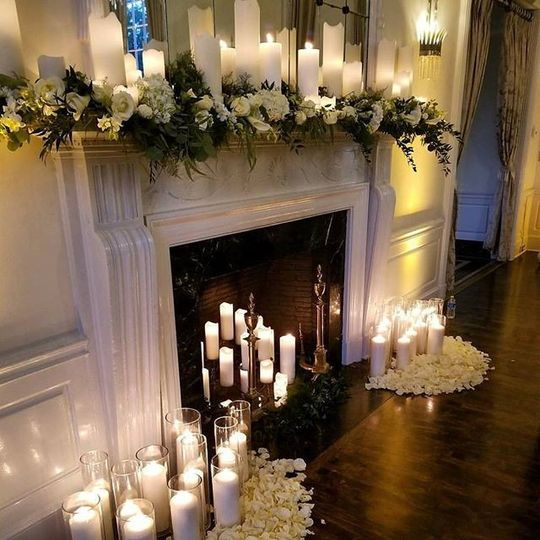 Fireplace with candlelights