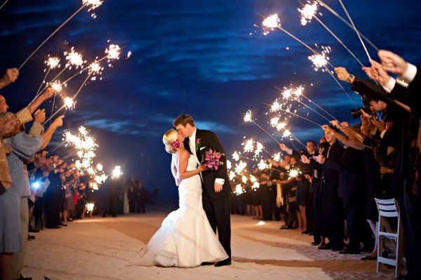 Sparklers at sunset