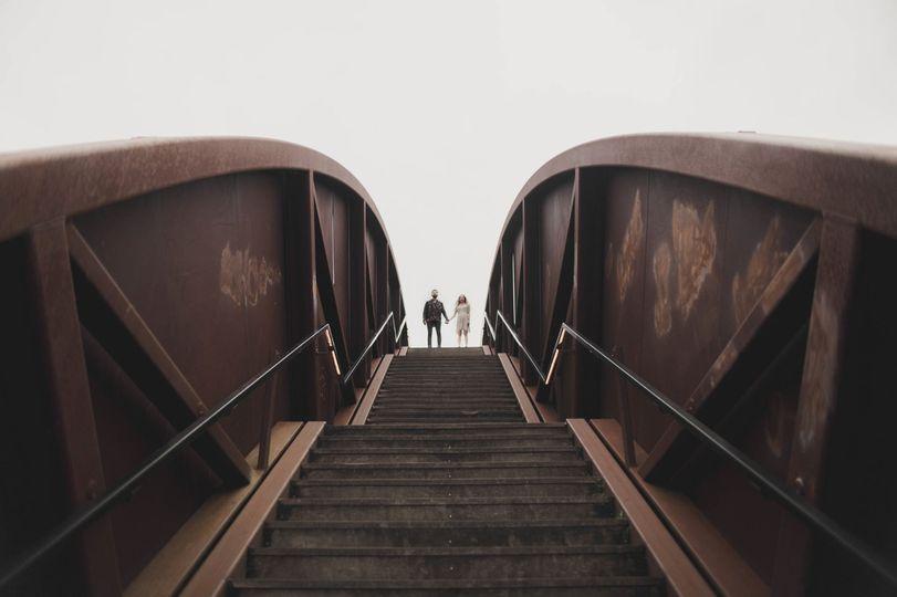 Couple ascending steps