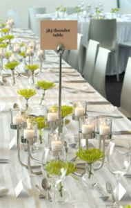 Long white table setup