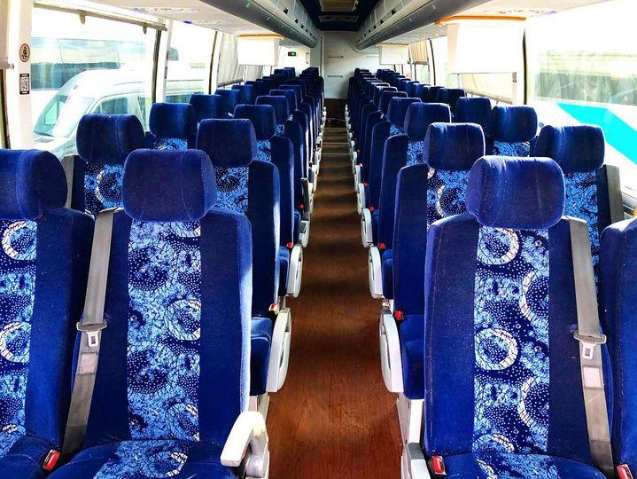 54 passenger bus aisle shot