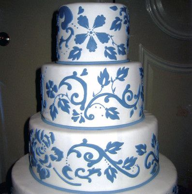 Square Wedding Cake WEdding With Blue Pattern