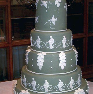 Gray wedding cake with white design