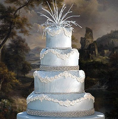 Soft blue cake with silver and white design