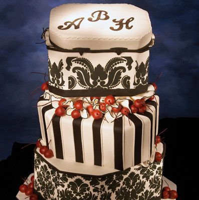 Wedding cake with black and red design