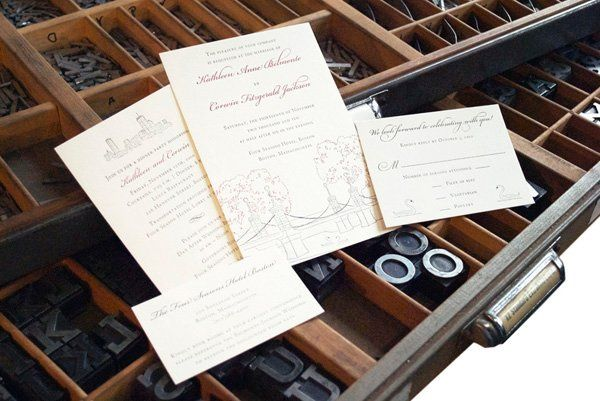 Custom drawn image of the Boston Public Gardens with rehearsal dinner card, information card, and...