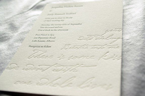 Two tone invitation featuring a poem by the bride.