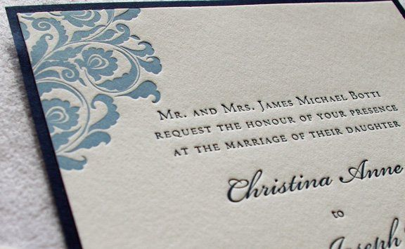 Highlight of two color invitation with backing card