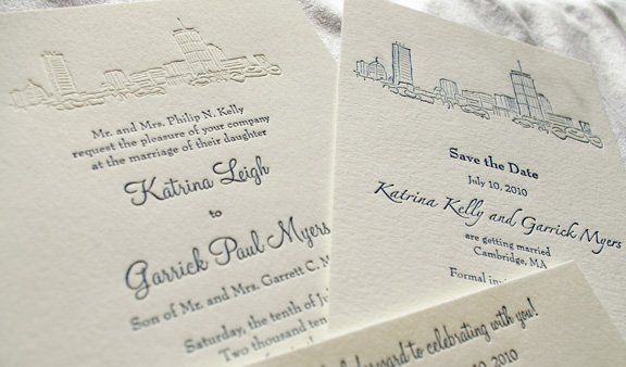 Invitation and save the date with custom drawing of the Boston skyline. Featured as an embossment on...