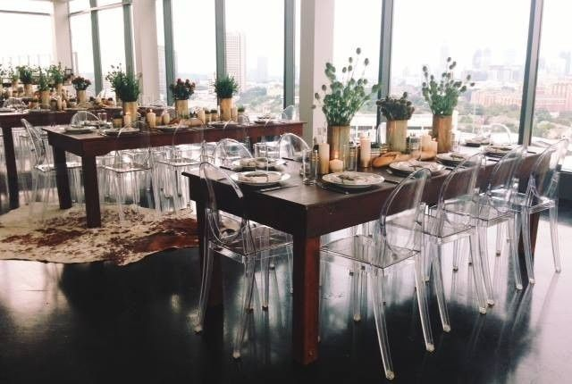 Long tables and floral centerpieces