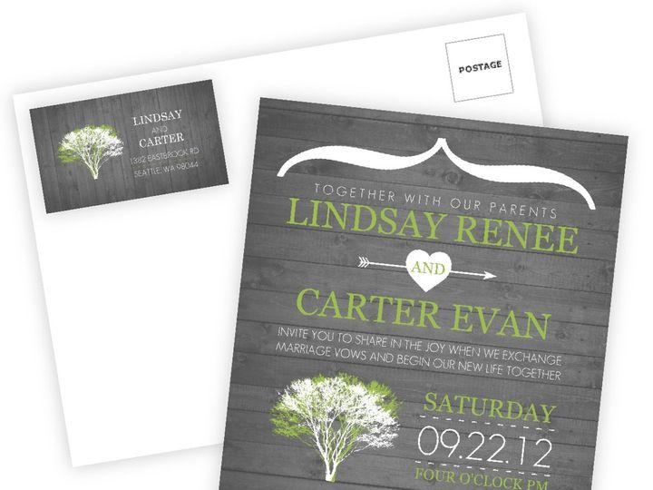 Tmx 1361915356185 WeddingWireInviteModernRusticGrayandWhite Issaquah wedding invitation