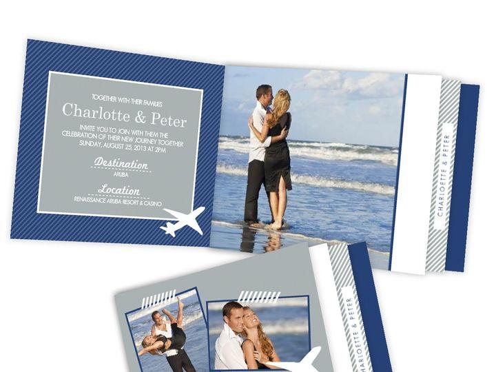 Tmx 1361915360977 WeddingWireInviteDestinationBlueandGrayPlane Issaquah wedding invitation