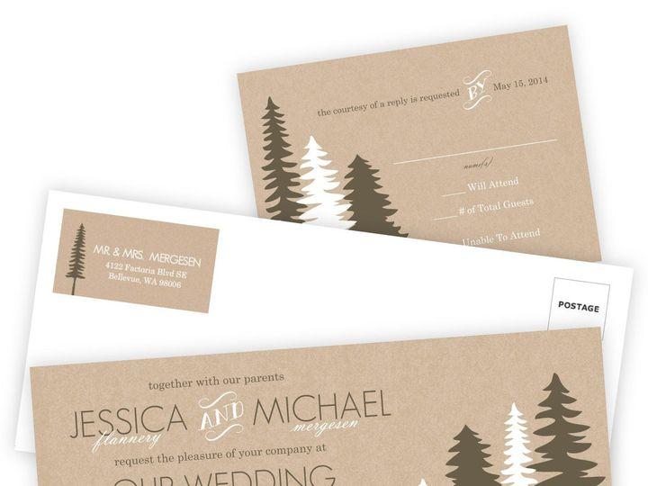 Tmx 1362012410701 WeddingWireInviteSetRusticPineTrees Issaquah wedding invitation