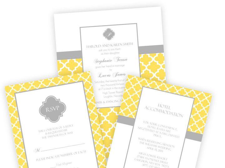 Tmx 1362012465802 WeddingWireSmallSetYellowandGrayPattern Issaquah wedding invitation