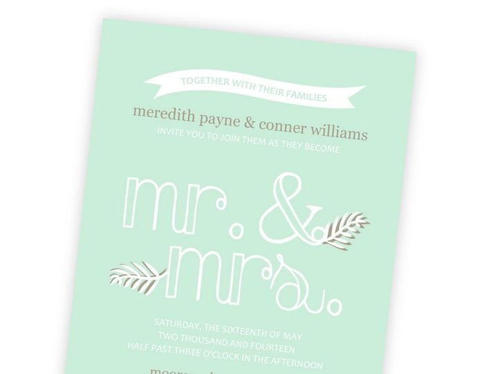 Tmx 1362013165927 WeddingWireInviteMintFloralTypographic Issaquah wedding invitation