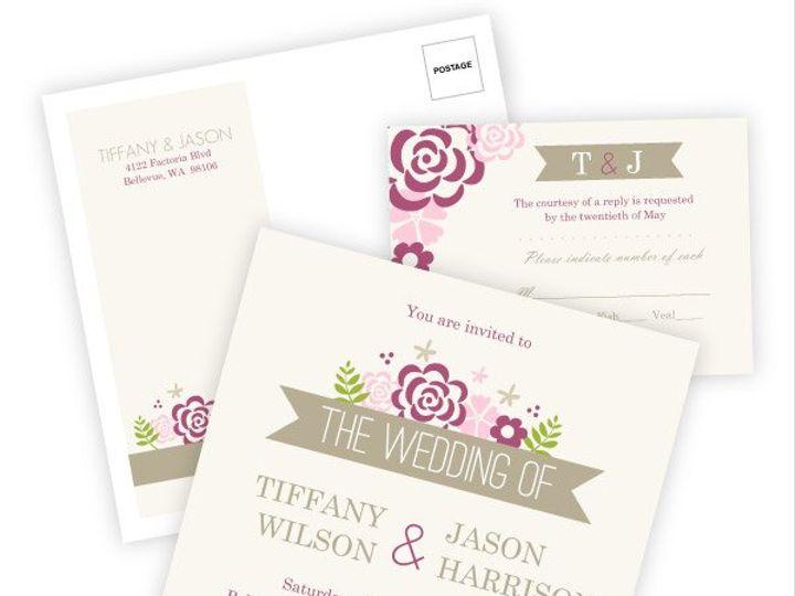 Tmx 1362083956532 WeddingWireInviteSetPinkFlowers Issaquah wedding invitation