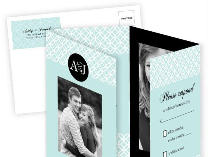 Tmx 1362083960189 WeddingWireInviteTurquoiseMonogram Issaquah wedding invitation