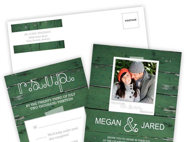 Tmx 1362091192285 WeddingWireInviteSetGreenWoodGrainPhoto Issaquah wedding invitation