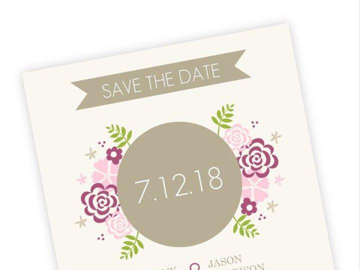 Tmx 1362092225953 WeddingWireSavetheDatePinkFlowers Issaquah wedding invitation