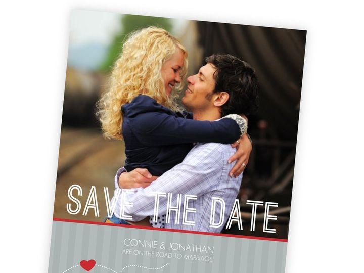 Tmx 1362092230320 WeddingWireSavetheDateRedandGrayJourney Issaquah wedding invitation