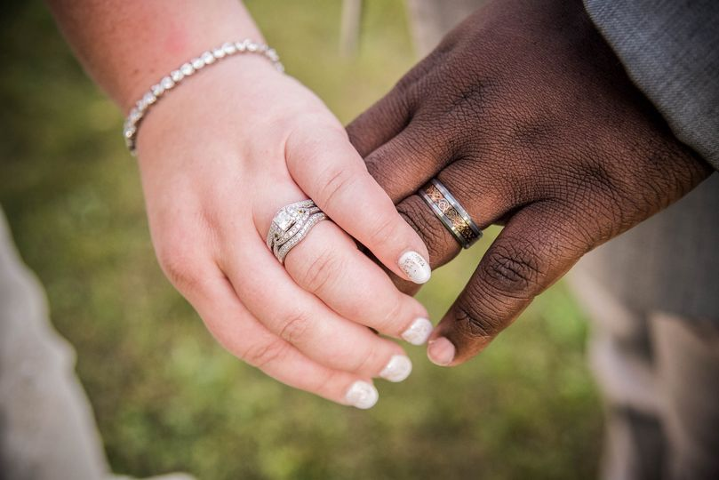 Closeup of hands with wedding rings