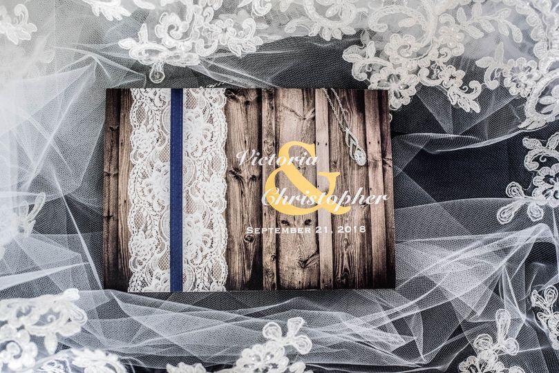 Closeup of wedding invitation