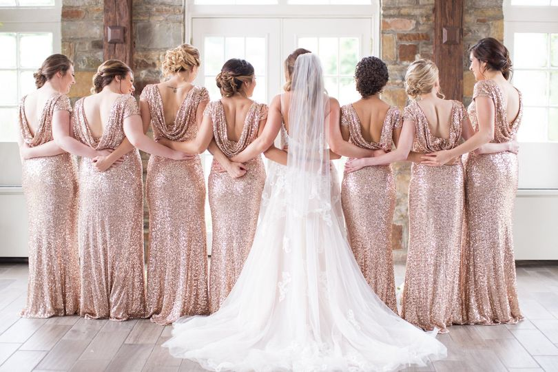 Bridal party's gowns