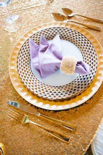 Lavender and gold placesetting