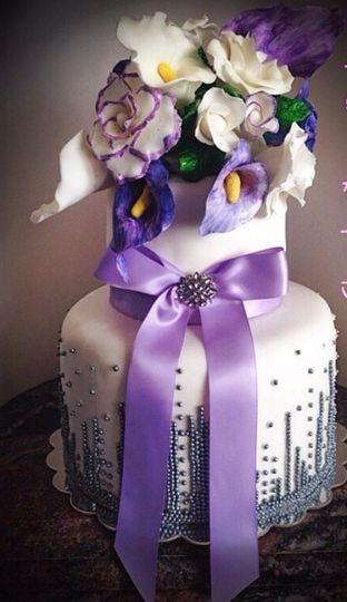 Violet ribbon cake