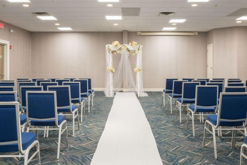 Aisle ready for a wedding ceremony