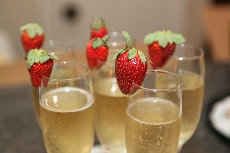 Champagne glass with fresh strawberry